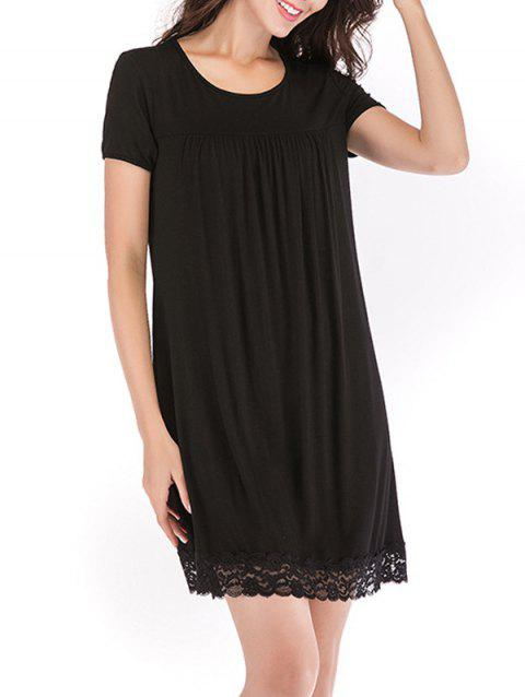 Lace Trim Sleeping Dress - BLACK M
