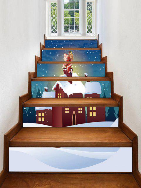 Christmas Night House Pattern Removable Stair Stickers - multicolor 6PCS X 39 X 7 INCH( NO FRAME )