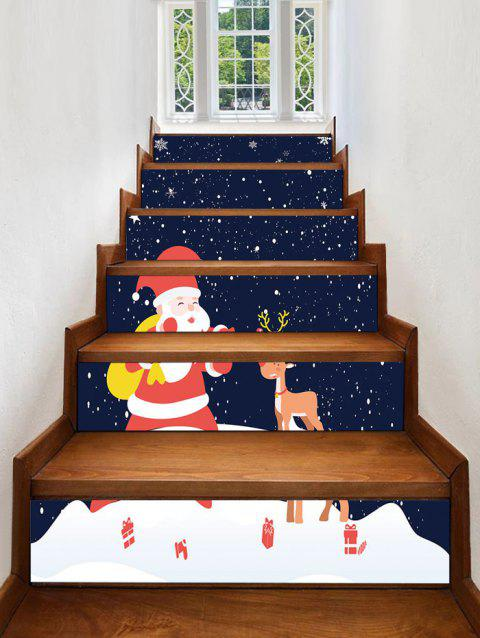 Christmas Santa Elk Pattern Removable Stair Stickers - multicolor 6PCS X 39 X 7 INCH( NO FRAME )