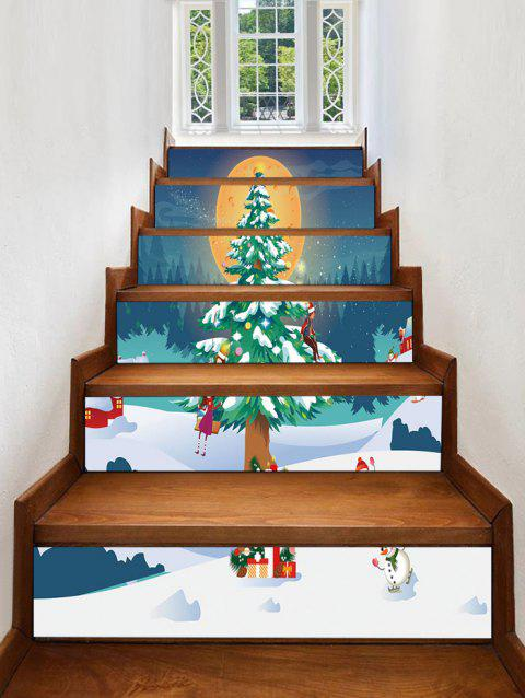 Christmas Tree Moon Pattern Removable Stair Stickers - multicolor 6PCS X 39 X 7 INCH( NO FRAME )
