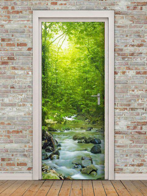 Forest Stream Print Door Art Stickers - multicolor 2PCS X 15 X 79 INCH
