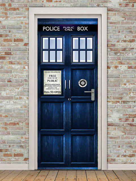 Police Box Door Print Door Art Stickers - multicolor 2PCS X 15 X 79 INCH