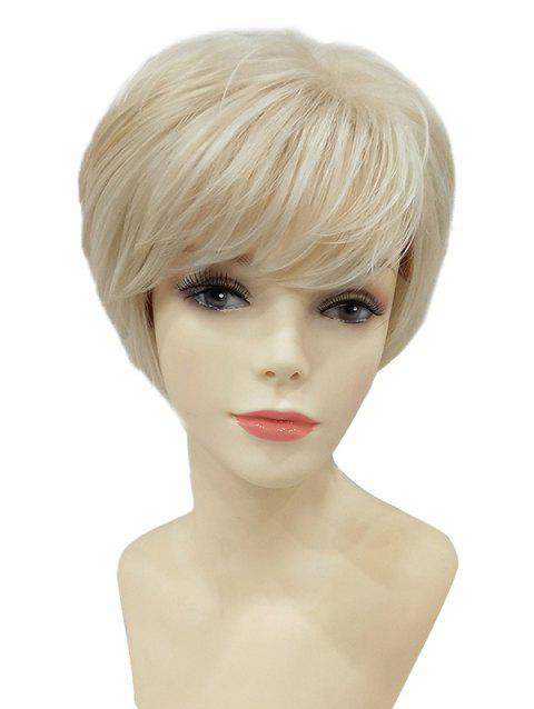 Short Inclined Bang Straight Capless Party Synthetic Wig - WARM WHITE