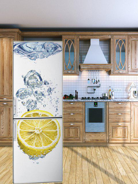 Self Adhesive Water Lemon Printed Fridge Sticker - multicolor 1PC X 24 X 71 INCH( NO FRAME )