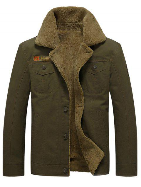 Badge Embellish Button Fly Faux Fur Jacket - ARMY GREEN XS