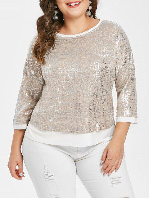 Plus Size Asymmetric Metallic Tee with Slit - WHITE L