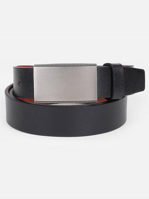 Faux Leather Plate Buckle Waist Belt - BLACK