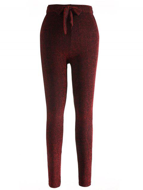 Drawstring Sparkly Skinny Pants - RED WINE L