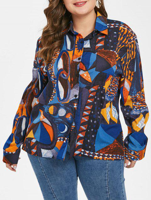 Plus Size Long Sleeves Graphic Shirt with Pocket - multicolor A L