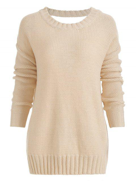 Cut Out Lace Up Back Knitted Sweater - APRICOT L