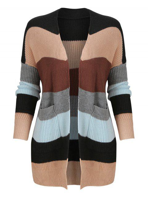9ce0449145 41% OFF  2019 Color Block Knitted Open Front Cardigan In Multicolor ...