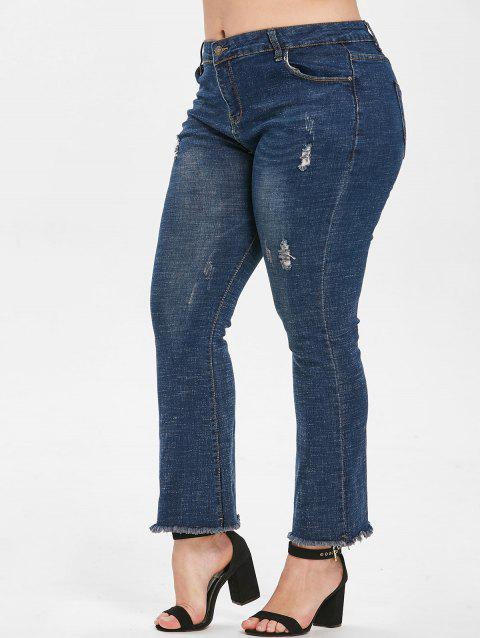 Plus Size Frayed Hem Jeans - DENIM DARK BLUE L
