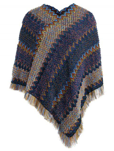 Pull Poncho en Tricot à Ourlet Pointu - multicolor ONE SIZE