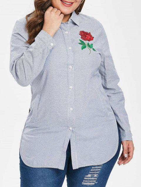 Plus Size Floral Striped Shirt - LIGHT BLUE 1X