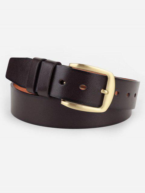 Unique Polished Brass Buckle Faux Leather Belt - COFFEE