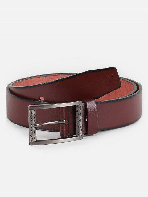 Carving Buckle Faux Leather Waist Belt - BROWN