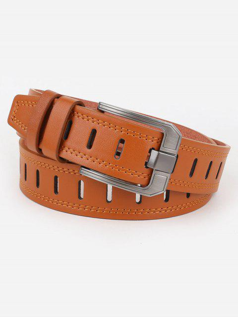 Hollow Out Faux Leather Waist Belt - CAMEL BROWN