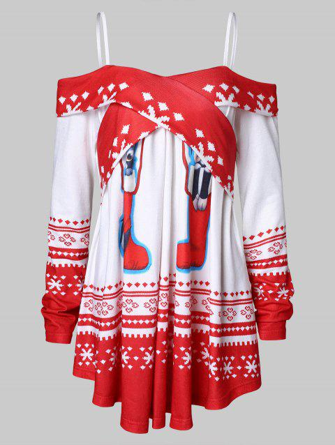 Christmas Socks Snowflake Print Open Shoulder T-shirt - LAVA RED XL