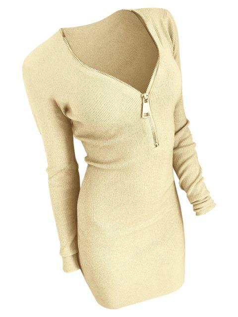 Knit Half Zip Mini Dress - CORN YELLOW L