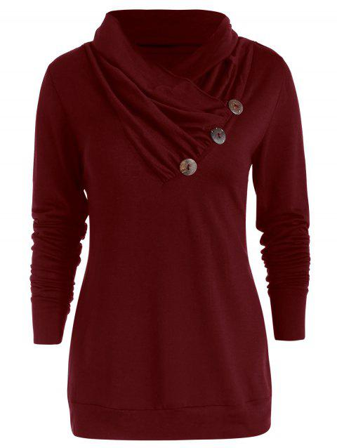 Cowl Neck Asymmetrical Button T Shirt - RED WINE S