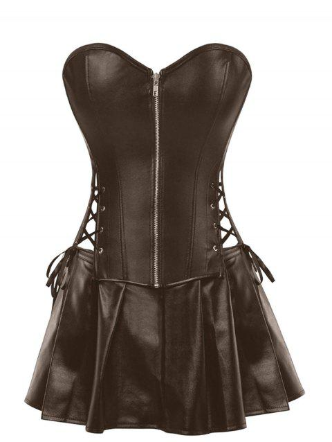 Plus Size Strapless Lace Up Corset with Mini Skirt - COFFEE L