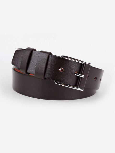 Silver Pin Buckle Casual Faux Leather Belt - COFFEE