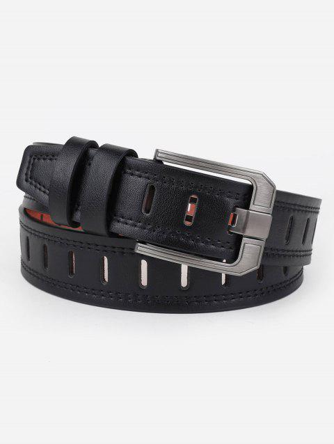 Hollow Out Faux Leather Waist Belt - BLACK