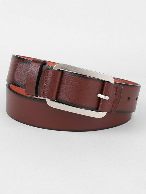 Metal Pin Buckle Faux Leather Belt - BROWN