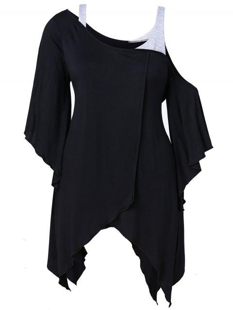 Skew Neck Plus Size Asymmetrical T-shirt - BLACK 1X