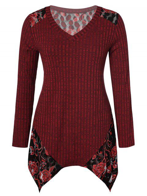 Plus Size V Neck Floral Handkerchief Sweater - RED WINE 1X