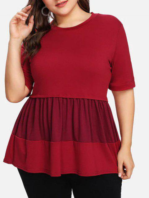 T-shirt Colour Block Plus Size A Line - Rouge 2X