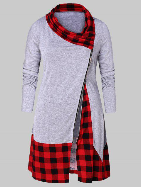Plus Size Plaid Splicing Side Zip Fly T-shirt - GRAY CLOUD 3X