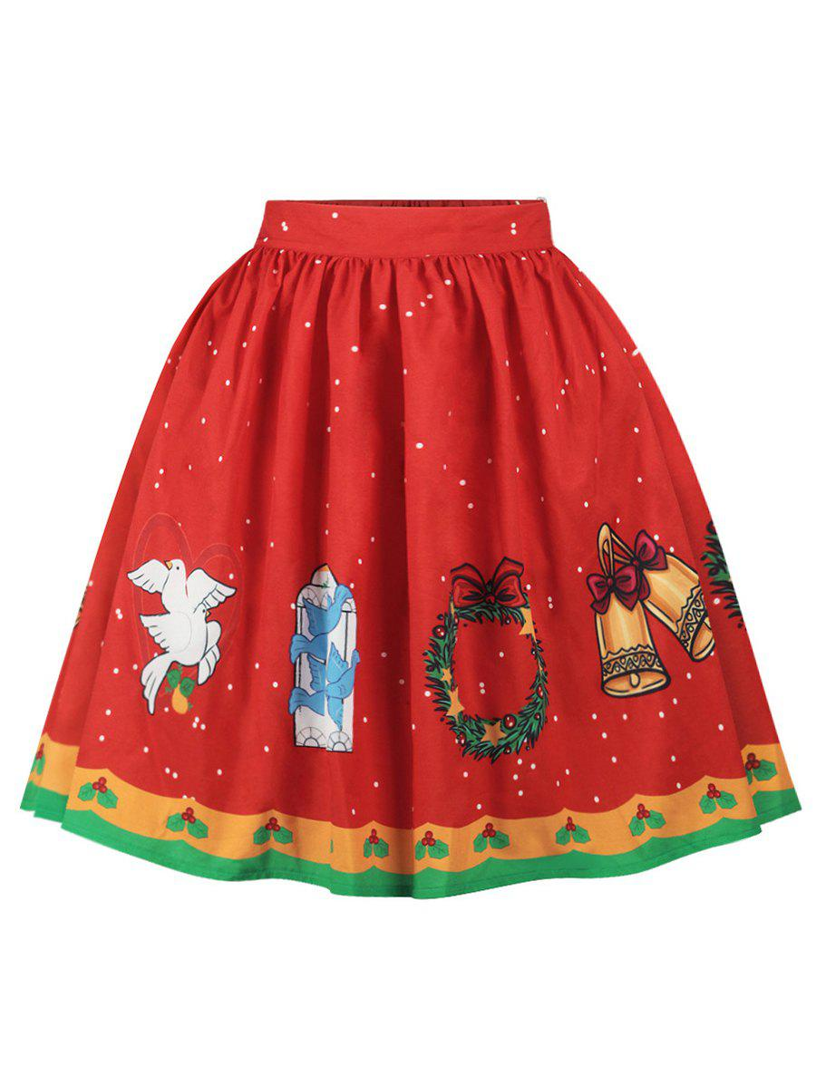 Plus Size Christmas Elk Print High Waisted Skirt - RED L