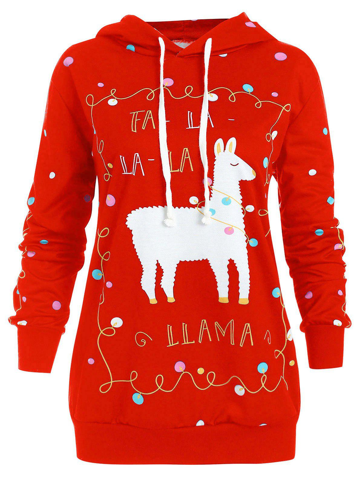 Plus Size Christmas Pattern Polka Dot Hoodie - RED L
