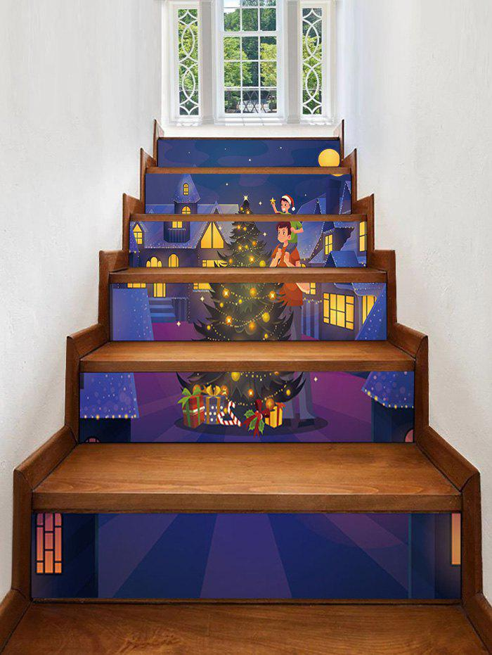 Christmas Tree Town Pattern Removable Stair Stickers - multicolor 6PCS X 39 X 7 INCH( NO FRAME )