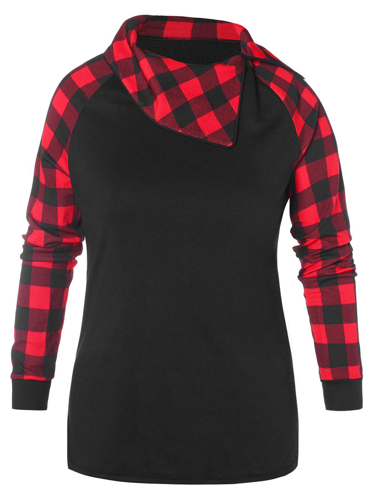 Plus Size Plaid Raglan Sleeve Asymmetric Collar Sweatshirt - BLACK L