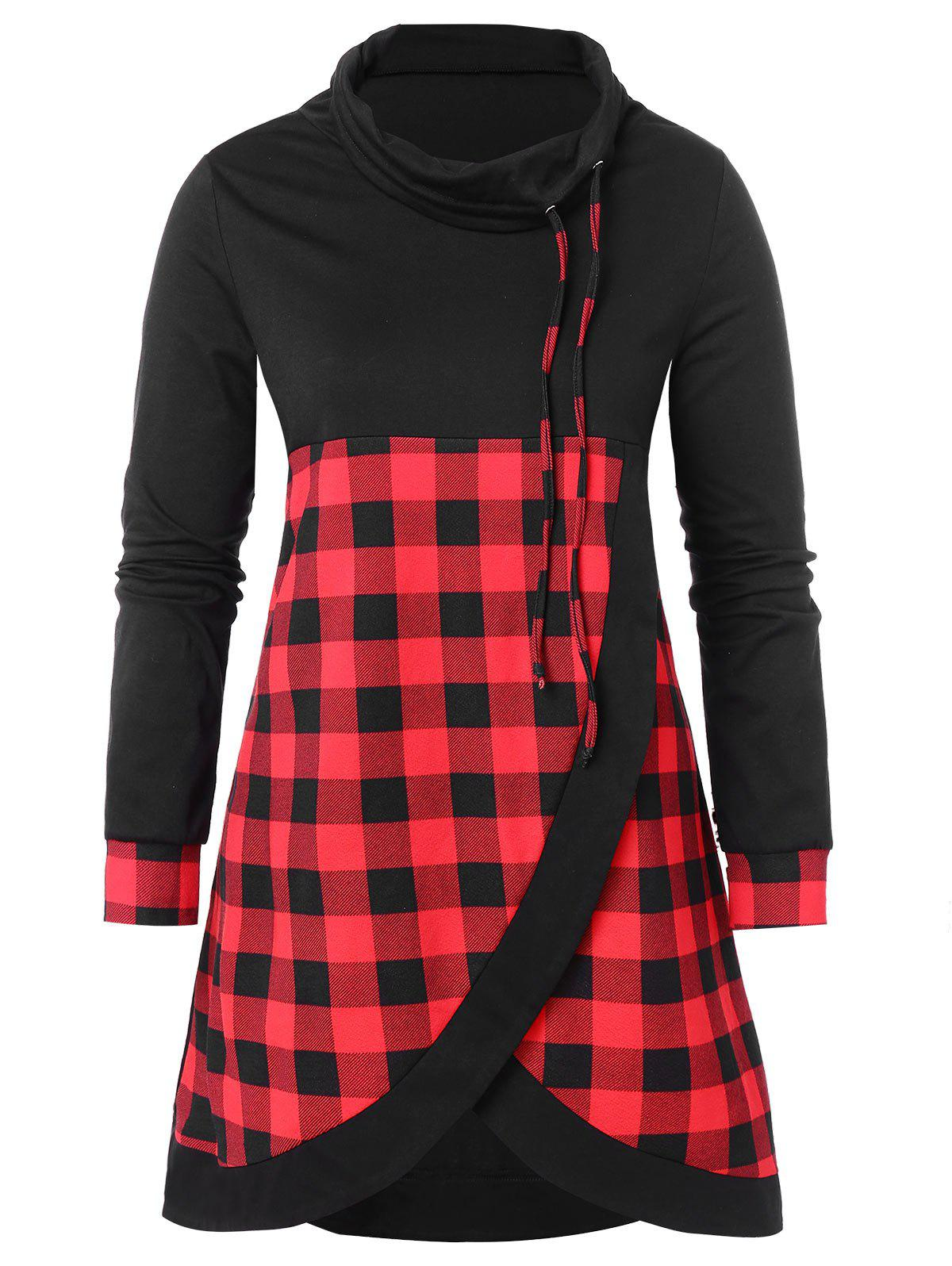 Plus Size Plaid Panel Cowl Neck Sweatshirt - BLACK 2X