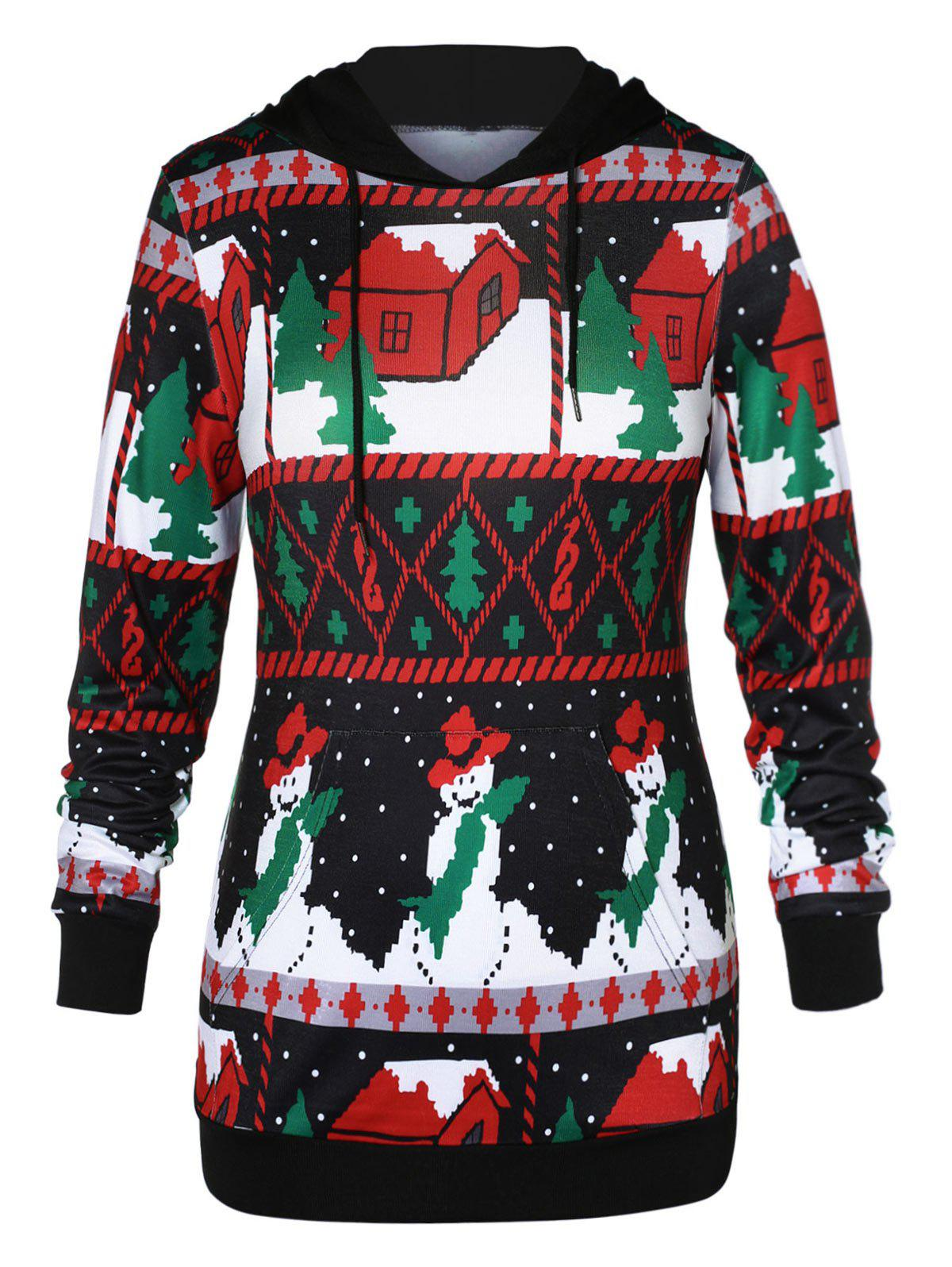 Plus Size Front Pocket Christmas Graphic Hoodie - multicolor A 1X