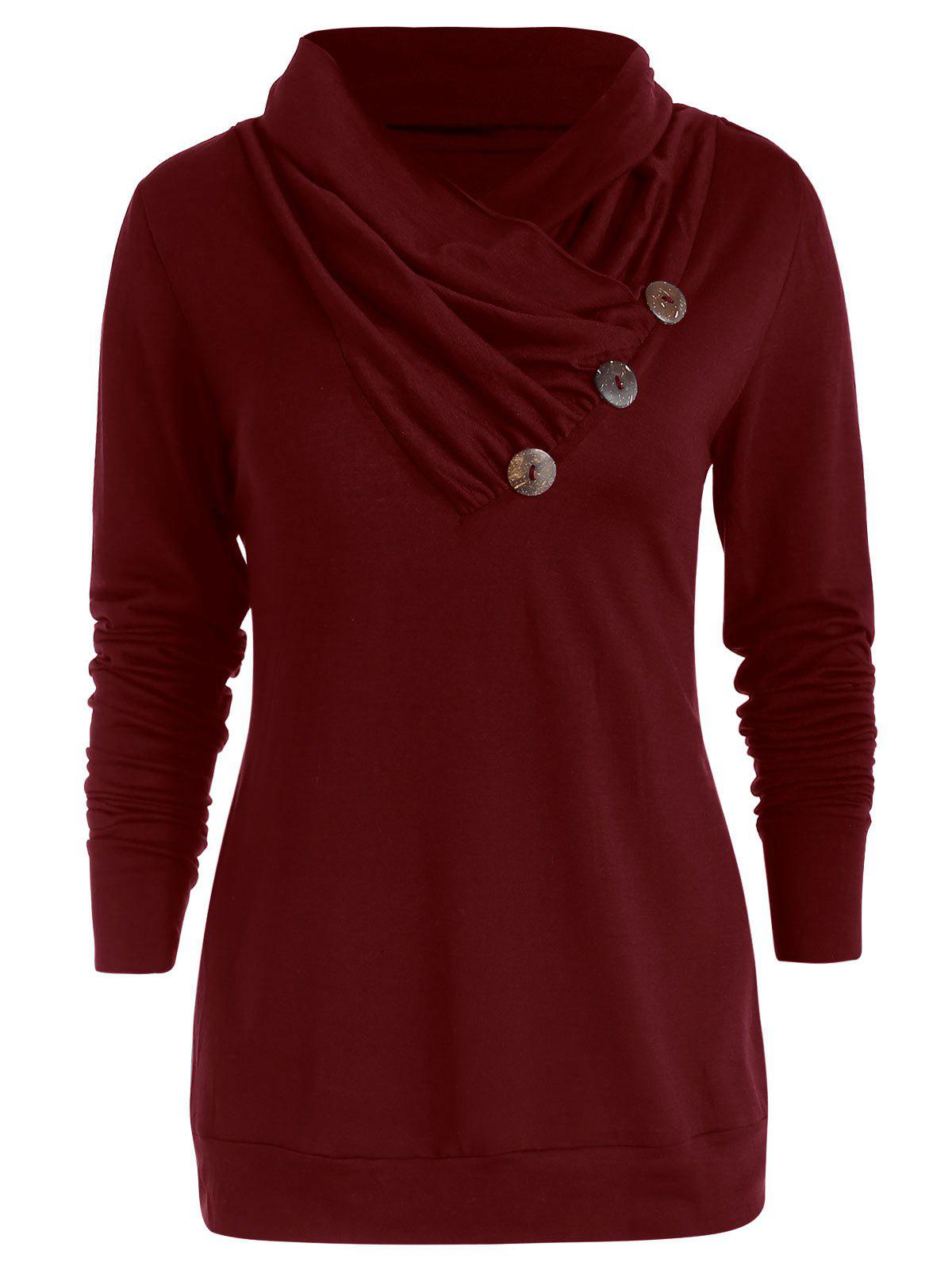 Cowl Neck Asymmetrical Button T Shirt - RED WINE L