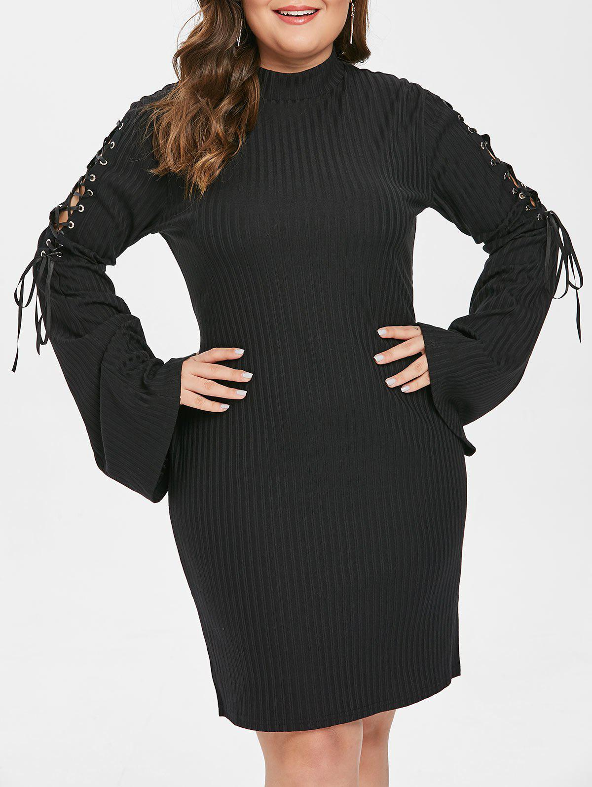 Plus Size Ribbed Bodycon Dress - BLACK L