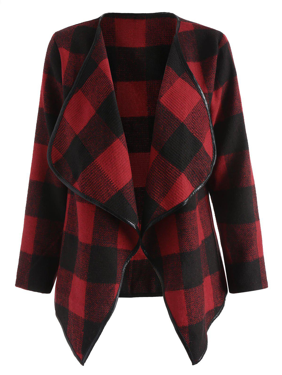 Plaid Open Front Asymmetric Jacket - RED S