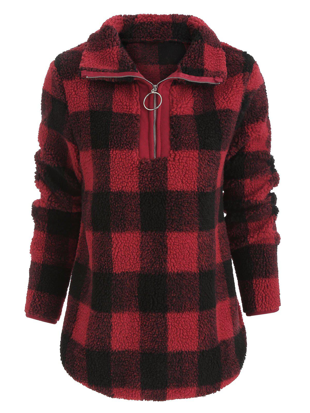 Stand Collar Faux Fur Checked Sweatshirt - RUBY RED L