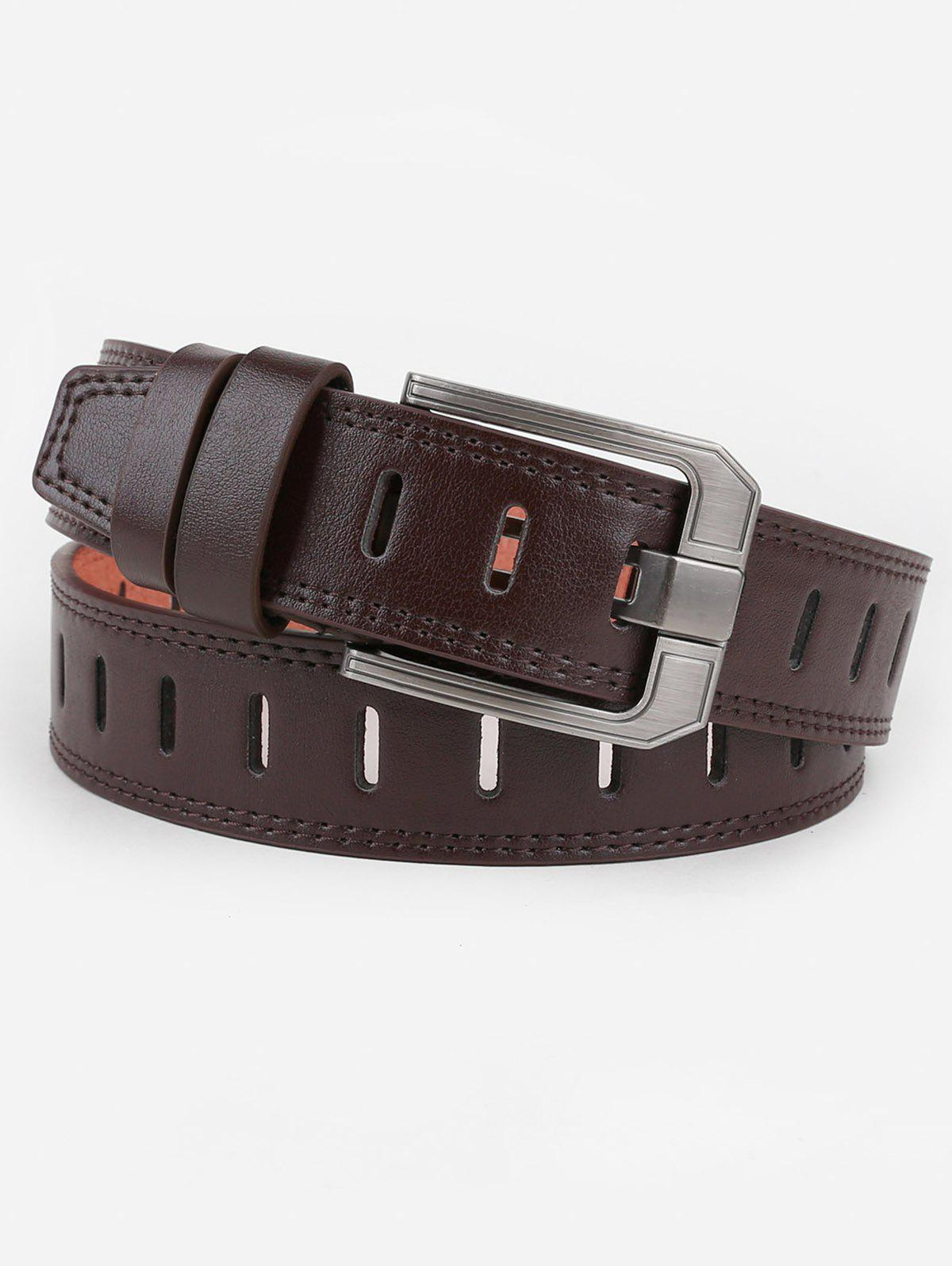 Hollow Out Faux Leather Waist Belt - COFFEE
