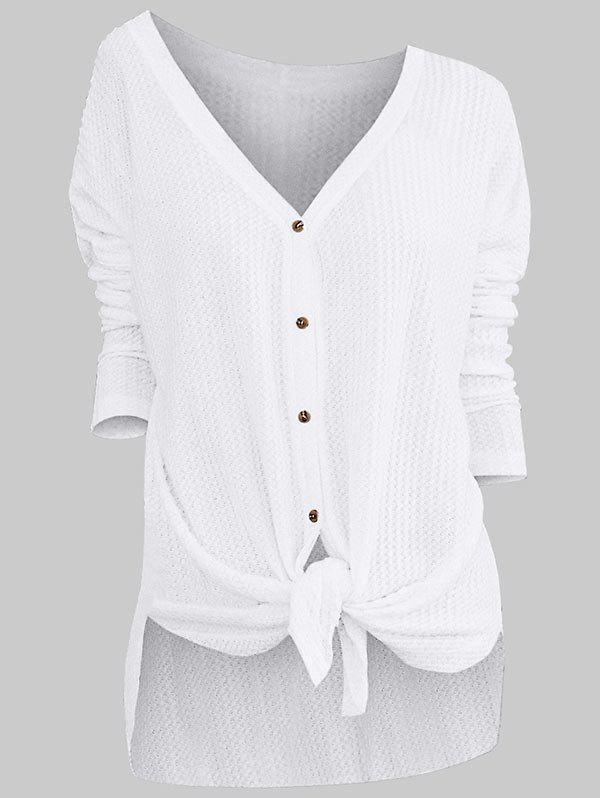 Knotted Long Sleeve Knit Cardigan - WHITE L