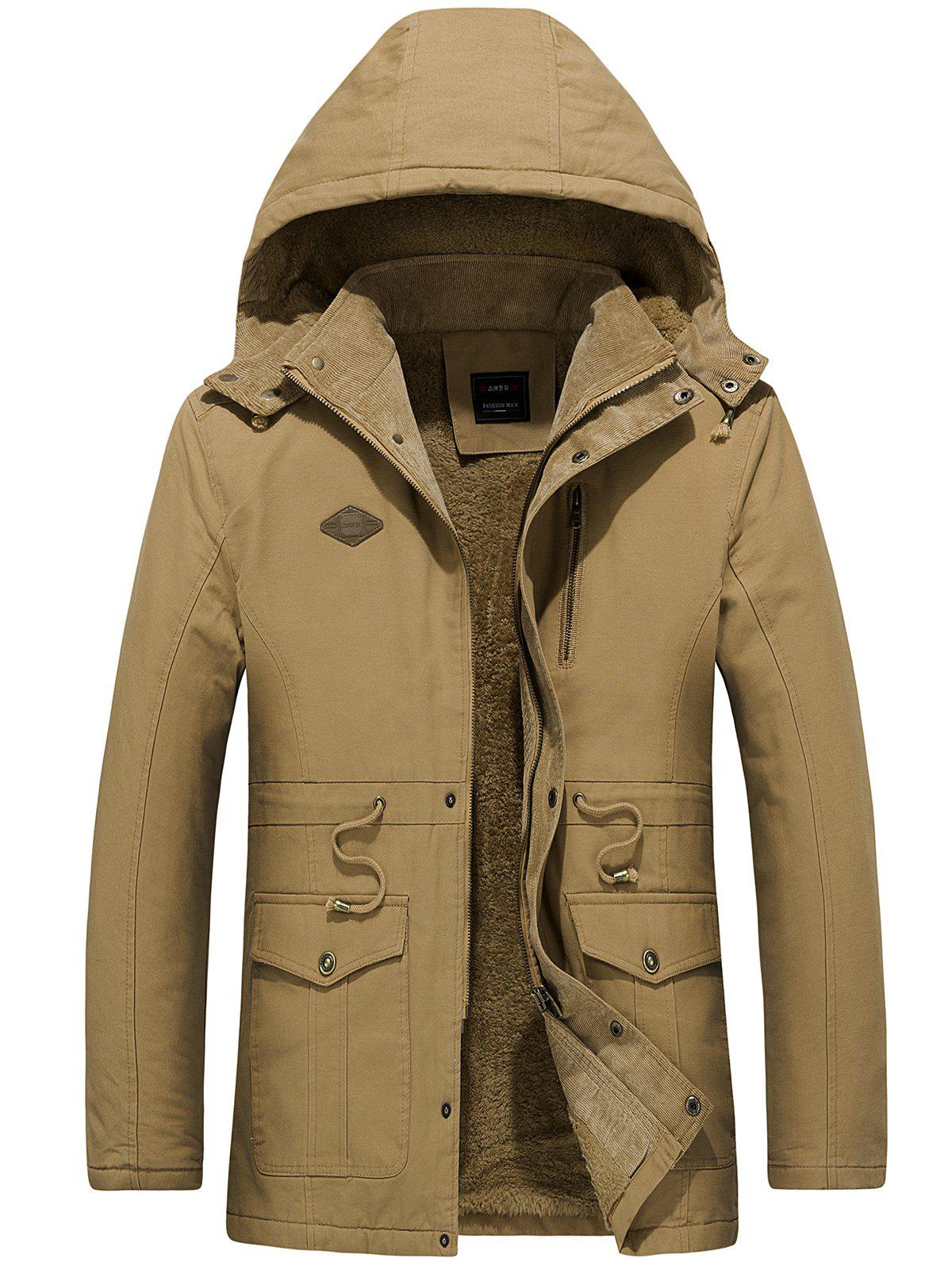 Draw String Waist Detachable Hooded Outdoor Jacket - CAMEL BROWN S