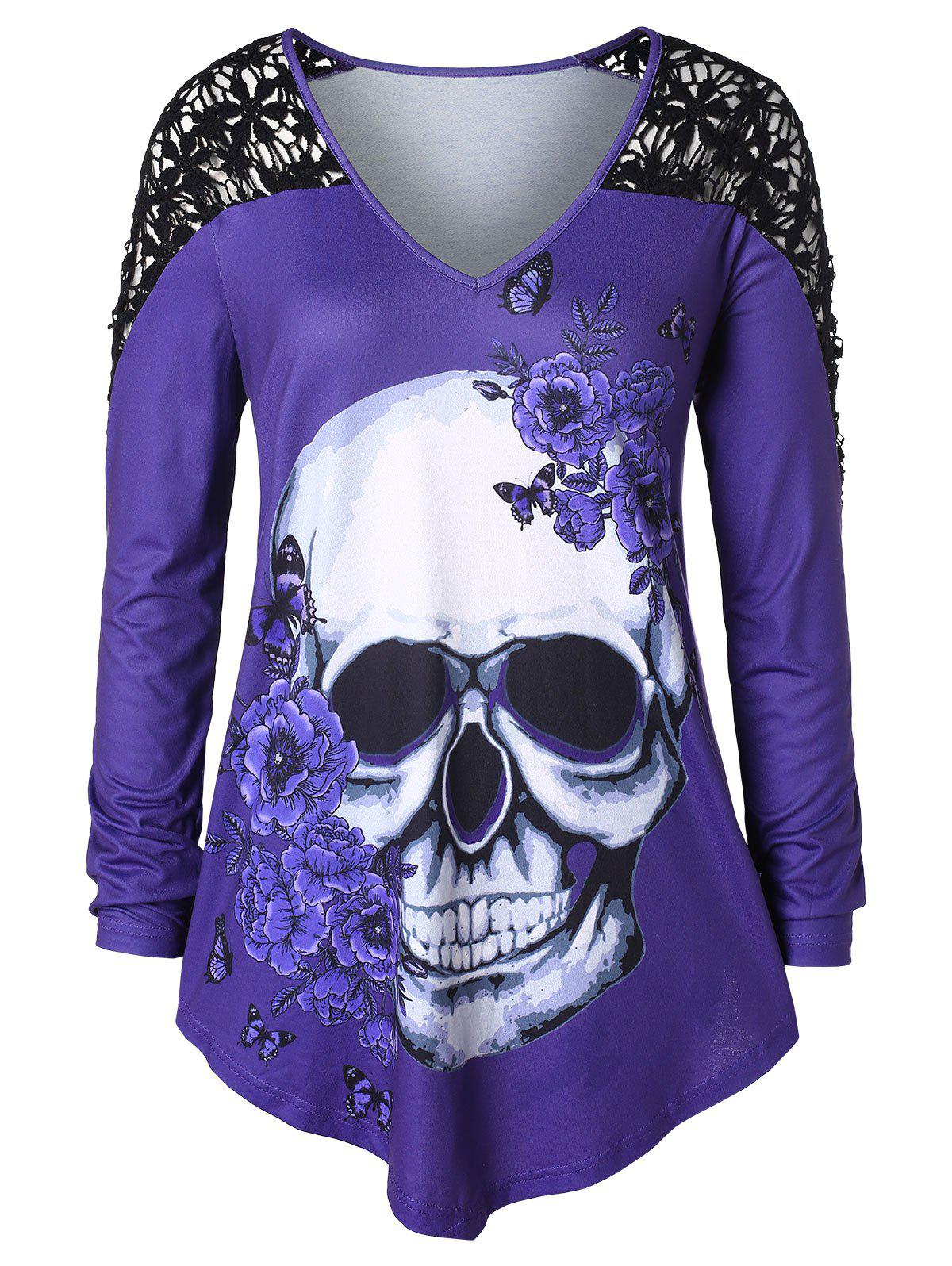 Plus Size Skull Print Crochet T-shirt - multicolor 3X