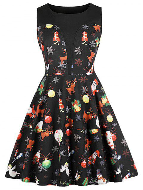 Christmas Printed Round Neck A Line Dress - BLACK 2XL