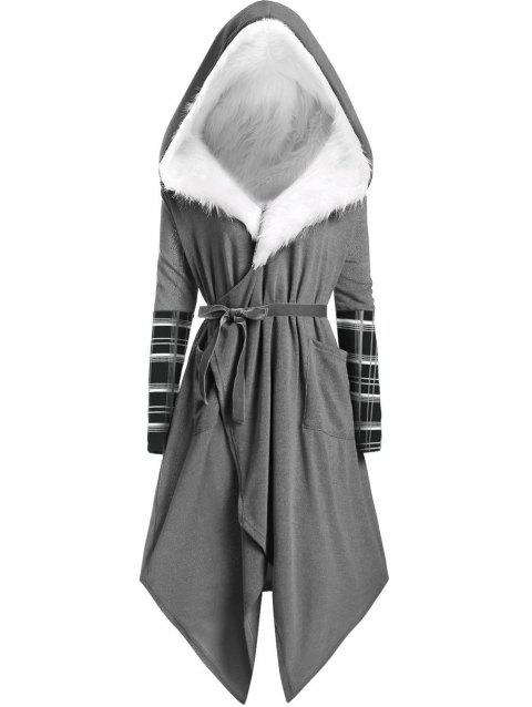 6f62ce5cd91 CUSTOM  2018 Plus Size Asymmetric Wrap Coat with Faux Fur Hooded In ...