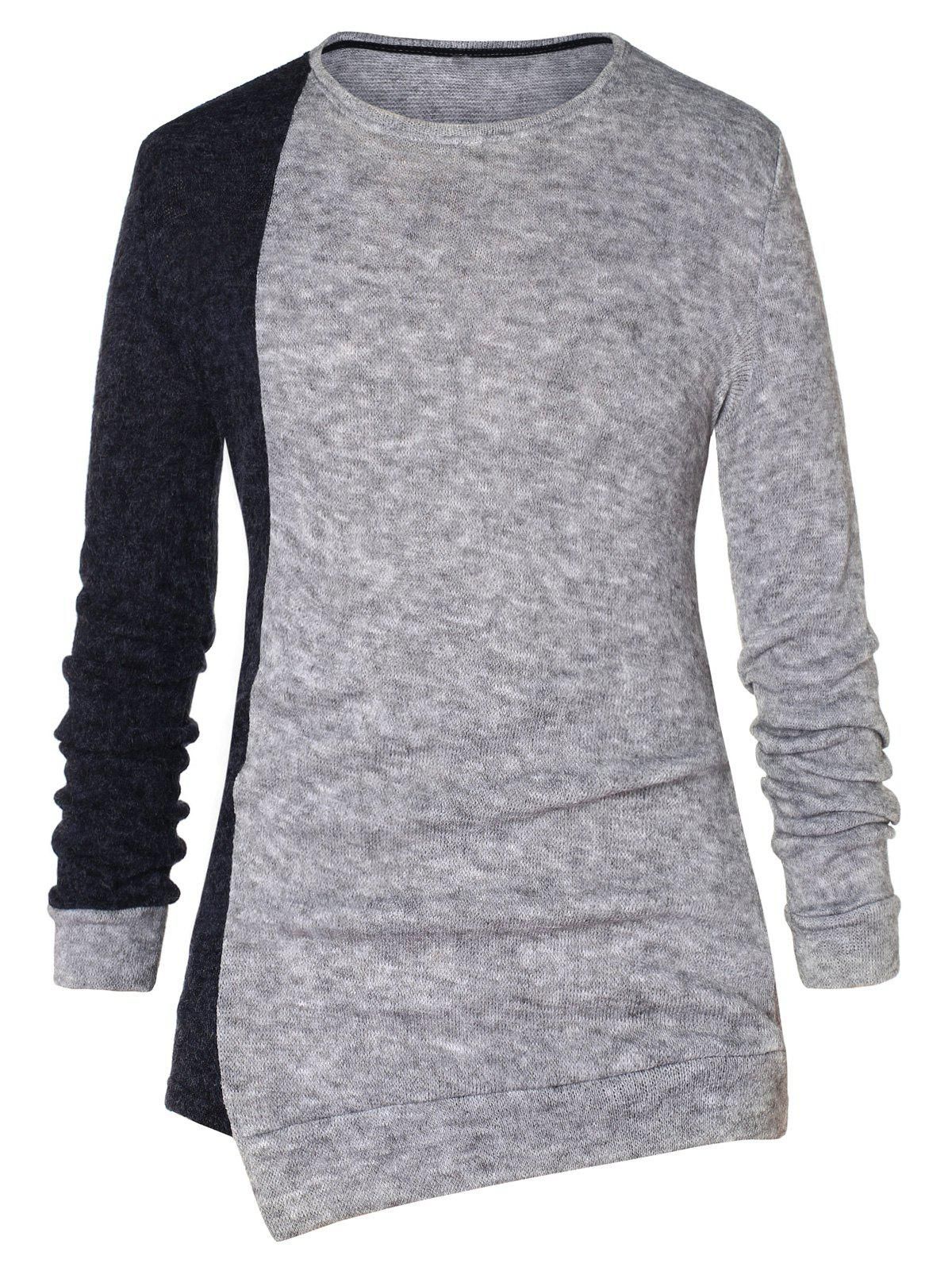 Asymmetric Color Block Pullover Sweater - CARBON GRAY 2XL