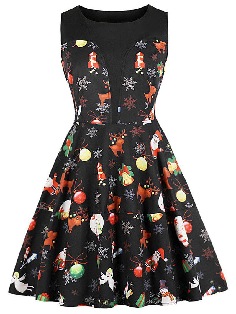 Christmas Printed Round Neck A Line Dress - BLACK XL
